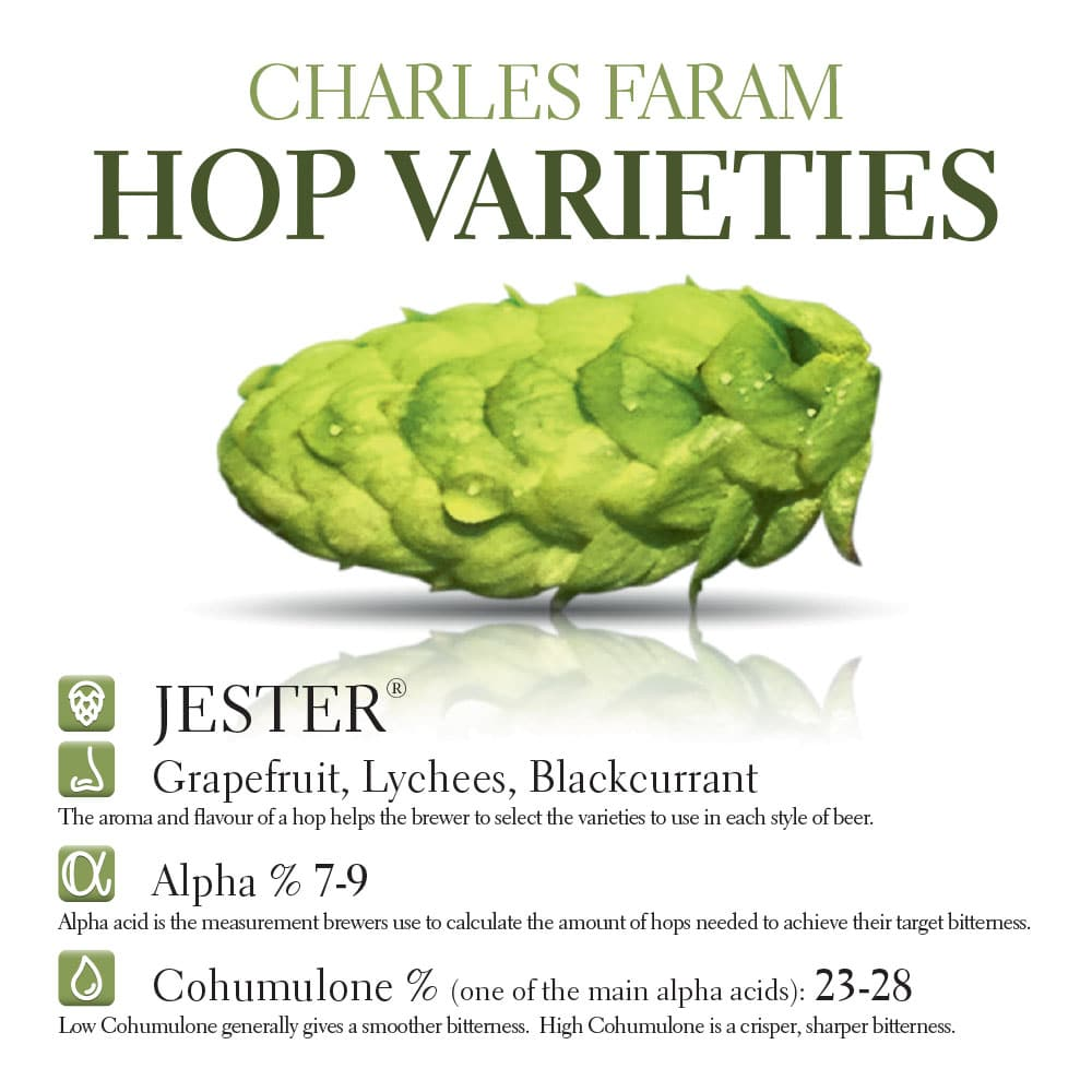 This photo shows the characteristics of Charles Faram's Jester hop variety