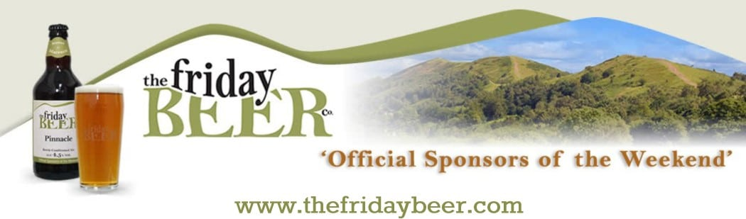 Photo of Friday beer logo, tagline as official sponsors of the weekend & website