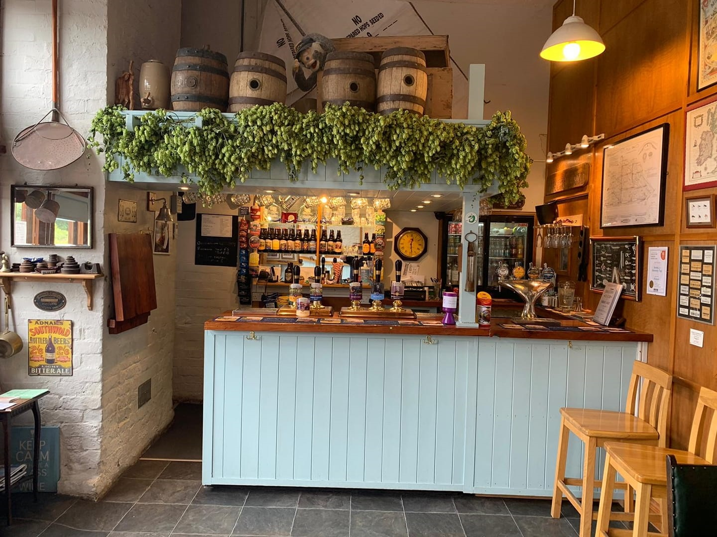 Photo of hop bines above the bar at Bewdley Brewery